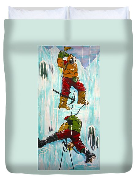 Ice Climbers Duvet Cover by V Boge