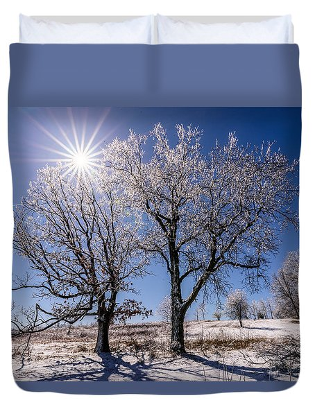 Ice Coated Trees Duvet Cover by Randy Scherkenbach