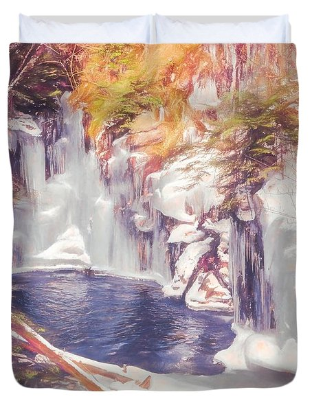 Ice Cold View Of Sages Ravine. Northwest Connecticut Duvet Cover
