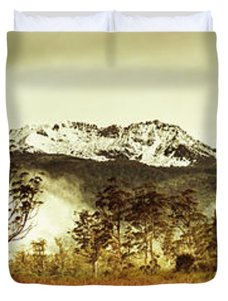 Ice Covered Mountain Panorama In Tasmania Duvet Cover