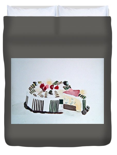 Ice Cream Cake Watercolor Duvet Cover