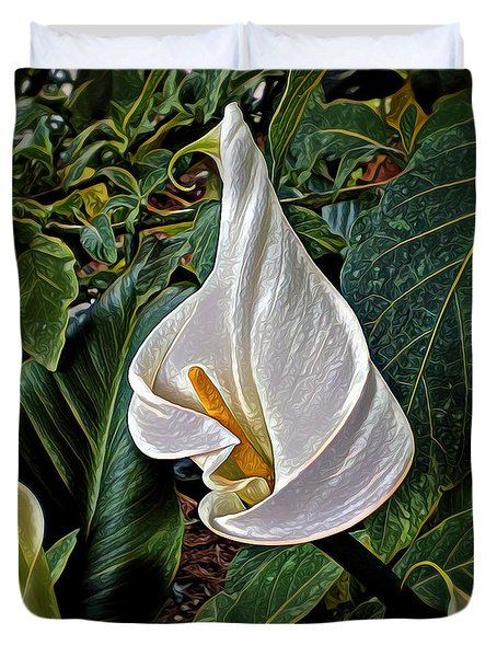Duvet Cover featuring the digital art Ice Cream Calla Lily by Pennie  McCracken