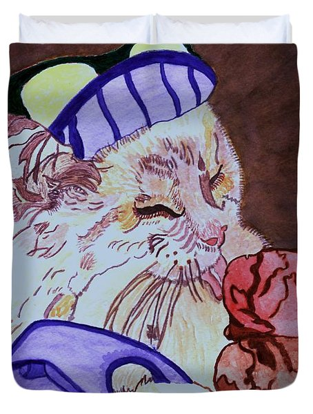 Ice Cream Kitty Duvet Cover by Connie Valasco
