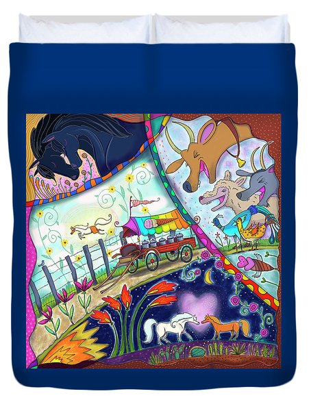 Duvet Cover featuring the digital art Ice Cream Pony by Marti McGinnis