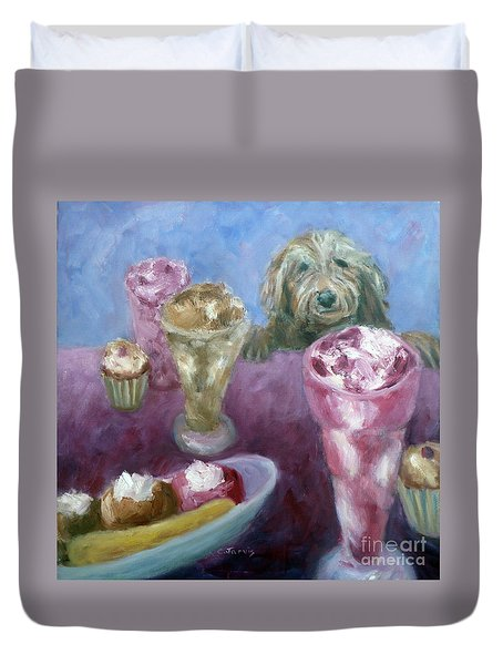 Ice Cream With Dog Duvet Cover