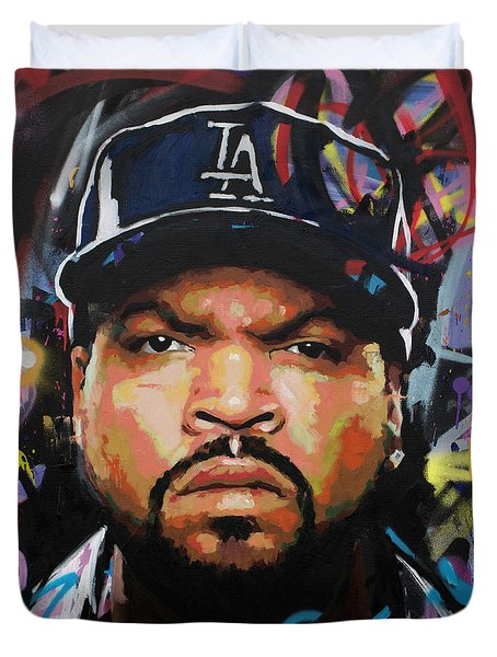 Duvet Cover featuring the painting Ice Cube by Richard Day