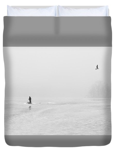 Ice Fishermen Duvet Cover