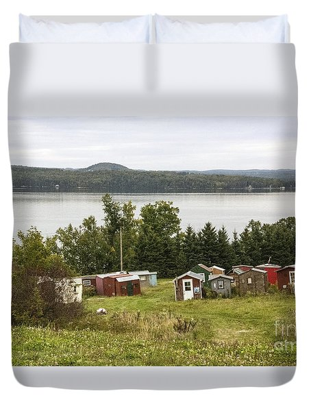 Ice Houses In Vermont Duvet Cover