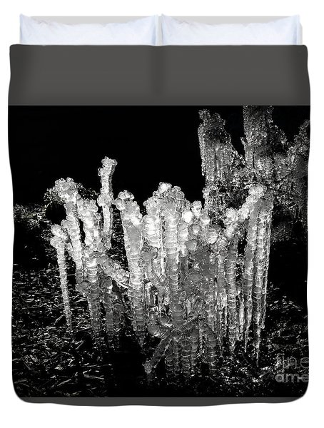 Duvet Cover featuring the photograph Ice In Shades Of Black by Renee Trenholm