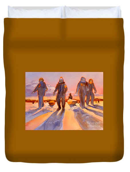 Ice Men Come Home Duvet Cover by Kathy Braud