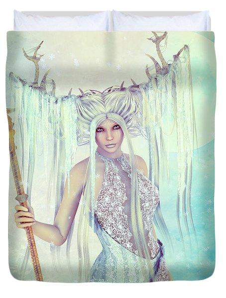 Duvet Cover featuring the digital art Ice Moon Princess by Jutta Maria Pusl