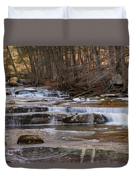 Ice On Fall Stream Duvet Cover