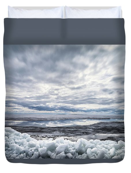 Ice On Lake Nipissing Duvet Cover by Brian Boudreau