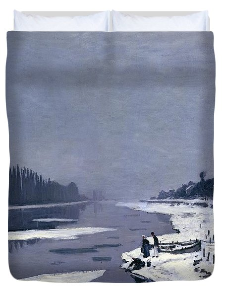 Ice On The Seine At Bougival Duvet Cover by Claude Monet