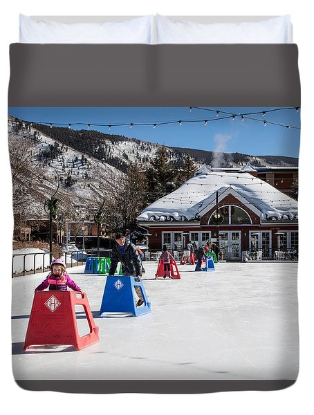Ice Rink In Downtown Aspen Duvet Cover by Carol M Highsmith