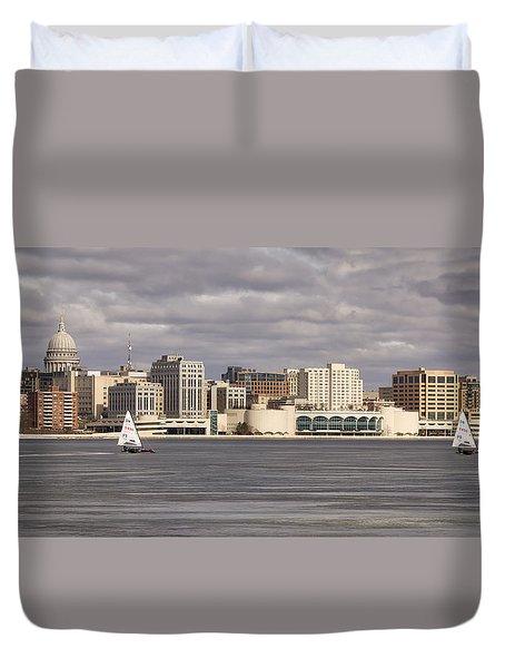 Ice Sailing - Lake Monona - Madison - Wisconsin Duvet Cover