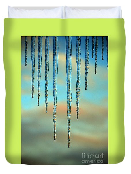 Duvet Cover featuring the photograph Ice Sickles - Winter In Switzerland  by Susanne Van Hulst