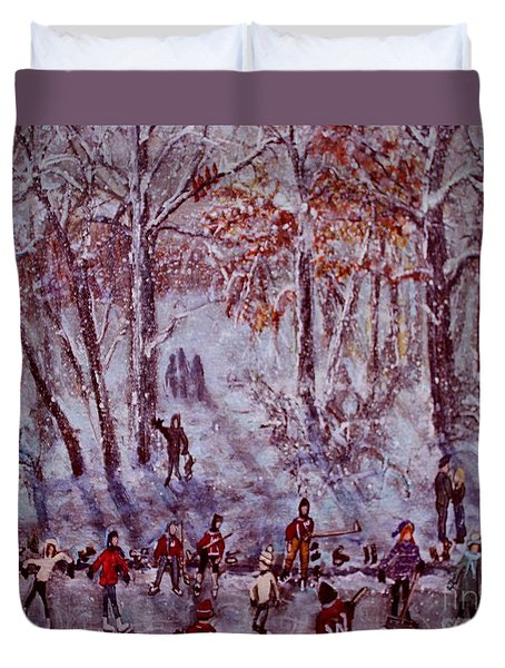 Ice Skating On Hardy Pond Duvet Cover