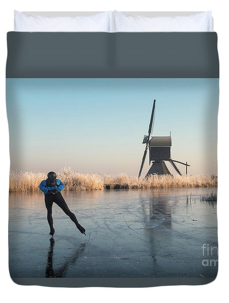 Ice Skating Past Frosted Reeds And A Windmill Duvet Cover