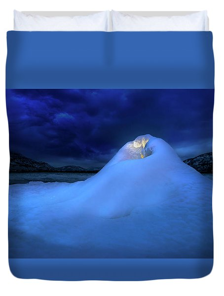 Duvet Cover featuring the photograph Ice Volcano by John Poon