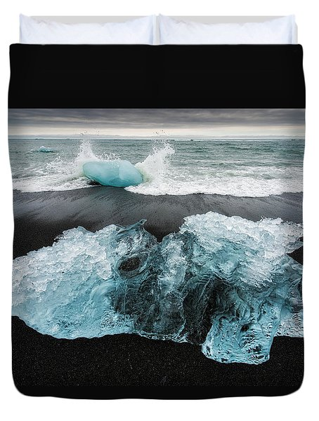 Duvet Cover featuring the photograph Iceberg And Black Beach In Iceland by Matthias Hauser