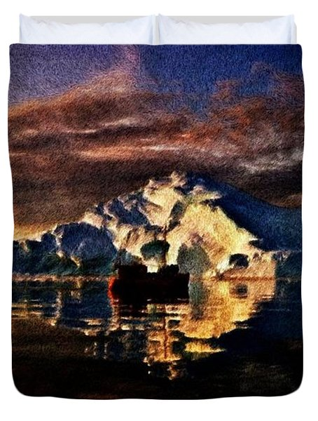 Duvet Cover featuring the painting Iceberg Panorama by Mario Carini