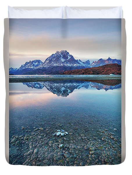 Icebergs And Mountains Of Torres Del Paine National Park Duvet Cover by Phyllis Peterson