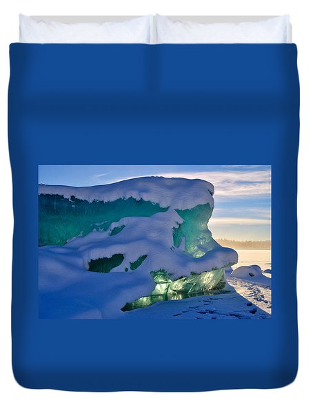 Iceberg's Glow - Mendenhall Glacier Duvet Cover by Cathy Mahnke