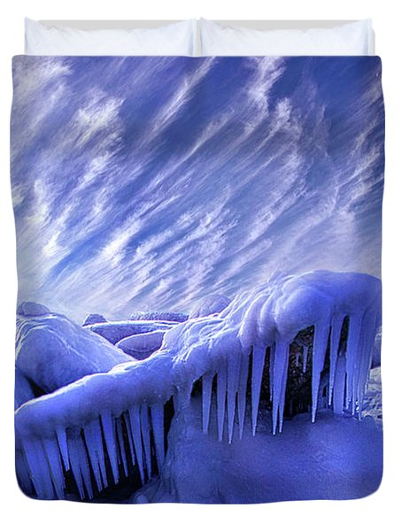 Duvet Cover featuring the photograph Iced Blue by Phil Koch