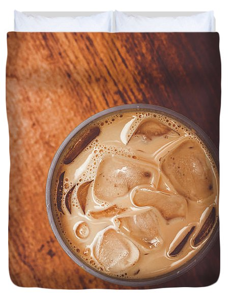 Iced Coffee Beverage On Copy Space Duvet Cover