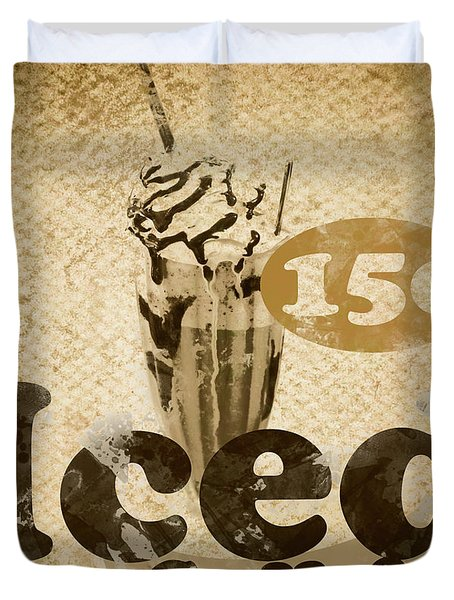 Iced Coffee Cafe Tin Sign Duvet Cover
