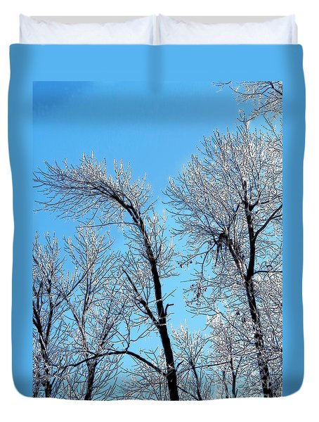 Iced Trees Duvet Cover by Craig Walters