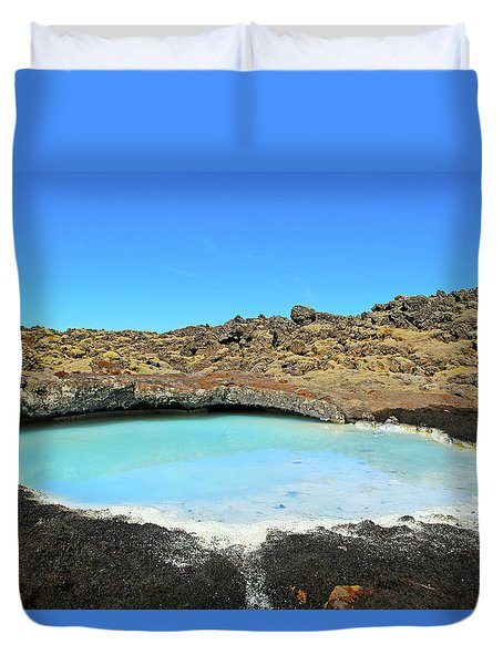 Iceland Blue Lagoon Exploring The Lava Fields Duvet Cover