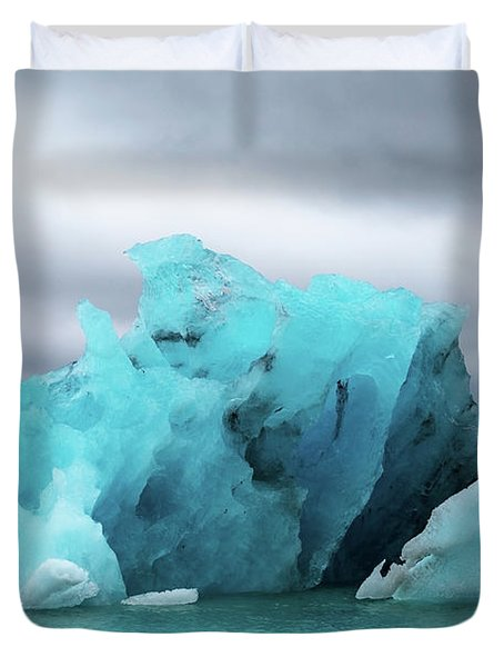 Iceland Blue Stormy Glaciers  Duvet Cover