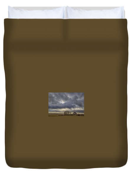 Duvet Cover featuring the tapestry - textile Iceland Buildings by Kathy Adams Clark