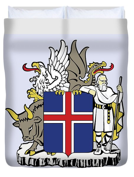 Iceland Coat Of Arms Duvet Cover by Movie Poster Prints