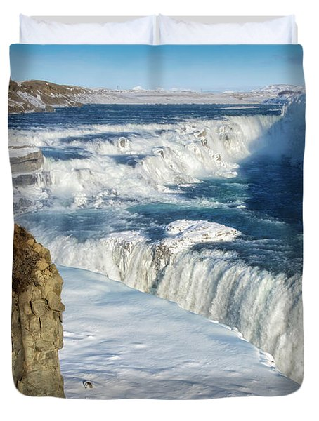 Iceland Gullfoss Waterfall In Winter With Snow Duvet Cover by Matthias Hauser