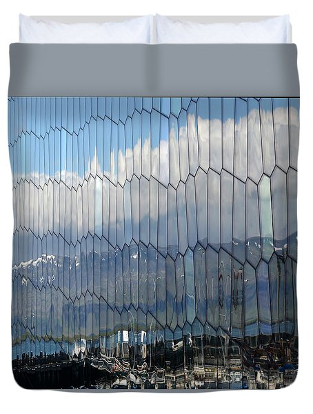 Duvet Cover featuring the photograph Iceland Harbor And Mountains by Joe Bonita