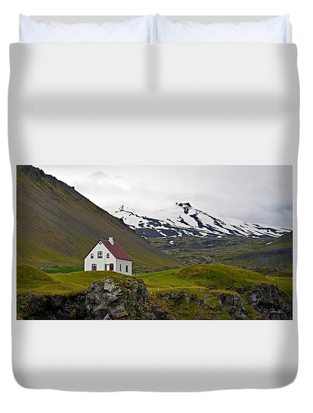 Duvet Cover featuring the photograph Iceland House And Glacier by Joe Bonita