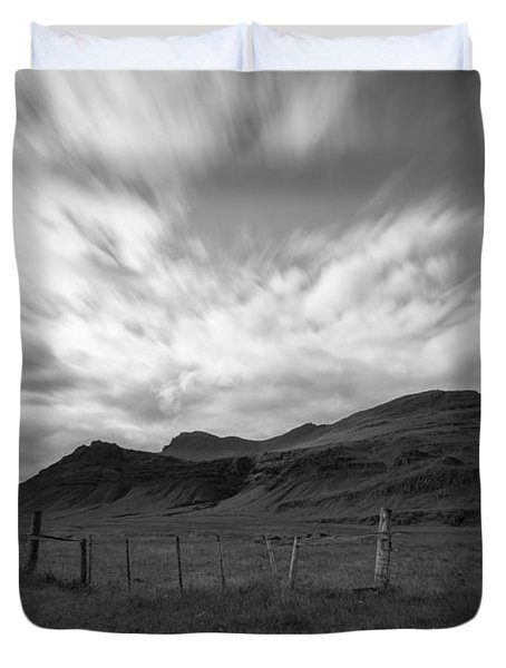 Iceland Landscape Bw Duvet Cover