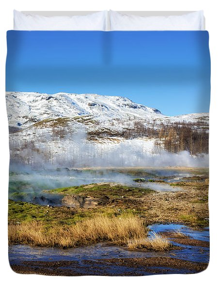 Iceland Landscape Geothermal Area Haukadalur Duvet Cover by Matthias Hauser
