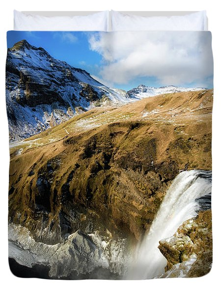 Duvet Cover featuring the photograph Iceland Landscape With Skogafoss Waterfall by Matthias Hauser