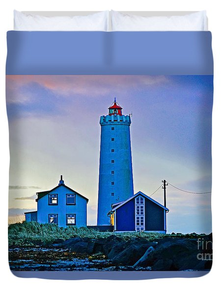 Iceland Lighthouse Duvet Cover