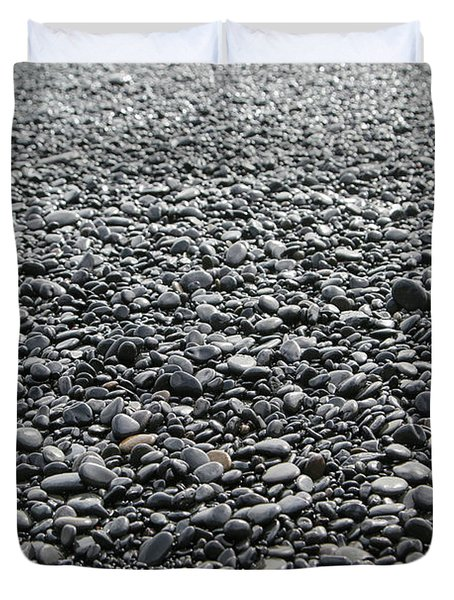 Iceland Weathered Lava Beach Stones  Duvet Cover