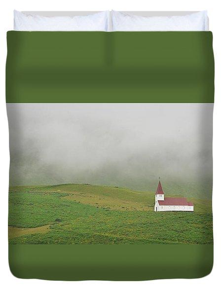Duvet Cover featuring the photograph Icelandic Chapel by Joe Bonita