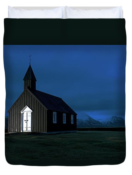 Duvet Cover featuring the photograph Icelandic Church At Night by Dubi Roman