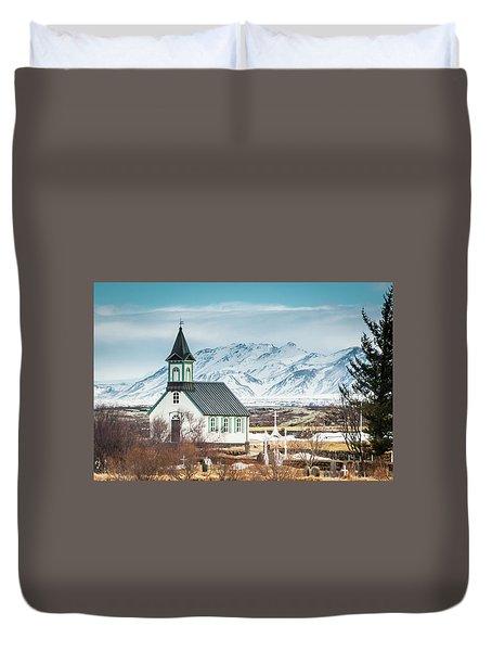 Icelandic Church, Thingvellir Duvet Cover