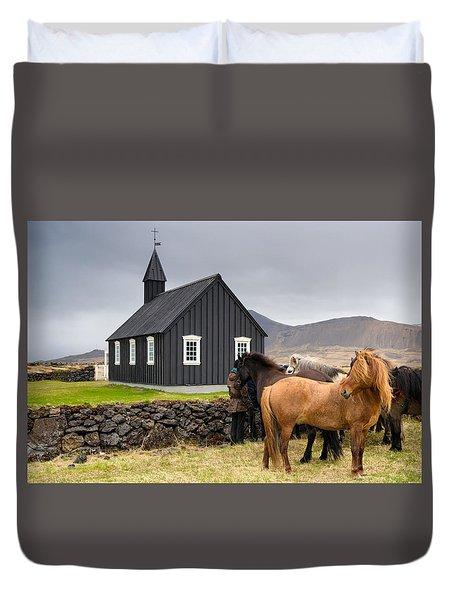 Icelandic Horses And Budir Church Iceland Duvet Cover