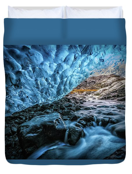 Icelandic Ice Cave Duvet Cover