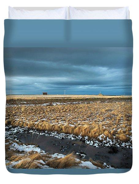 Duvet Cover featuring the photograph Icelandic Landscape by Dubi Roman